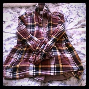 American Eagle Plaid Babydoll Top